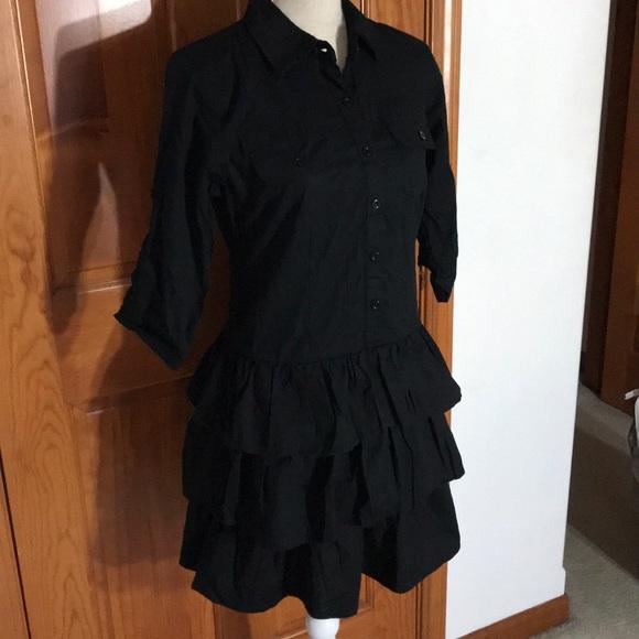 BeBop Dresses & Skirts - Be Bop Black Shirtdress with Ruffles SZ M